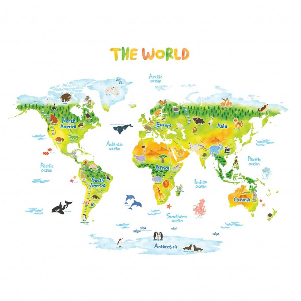 Muurstickers Dieren Muursticker Kinderkamer Wereldkaart Dieren Animal World Map Groen