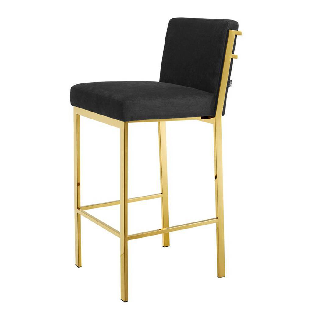 Barkruk Wit Leer Eichholt Messing Barkrukken Rugleuning Bar Stool Scott