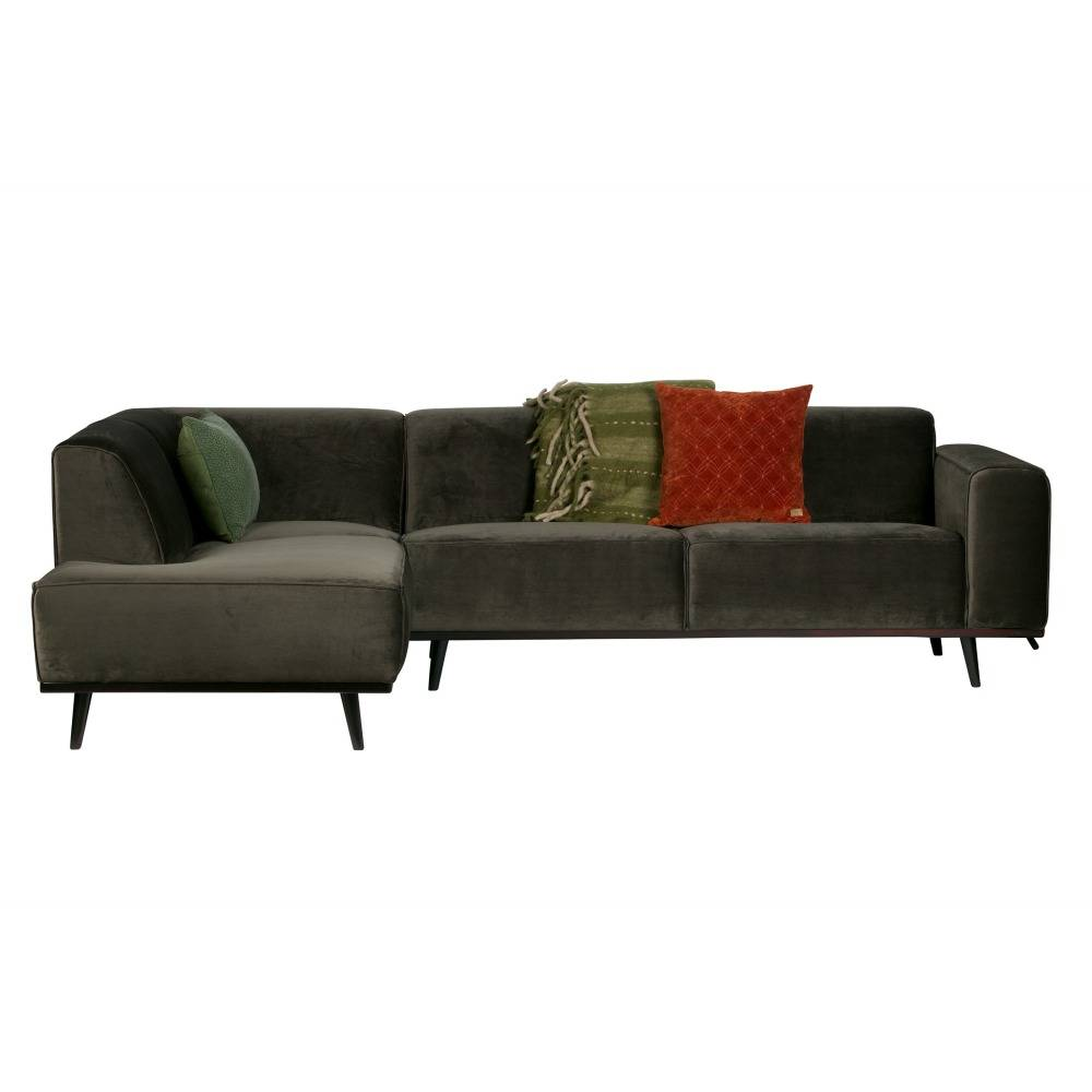 Ecksofa Links Sofa Statement Ecksofa Links Warm Grün Samt 77x274x210cm