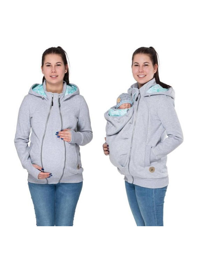 Positiekleding Sale Pola 3in1 Hoodie Jacket Grey Mint Leaf Motif