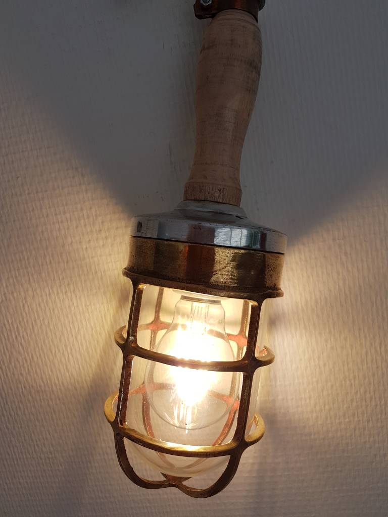 Industriele Looplamp Hout Messing Rense Lamps - Oude Looplamp