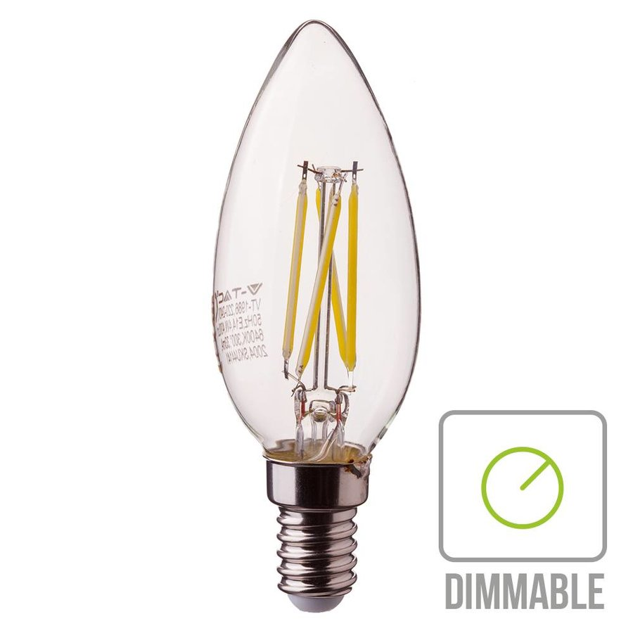 Fittingen Lampen V Tac Dimmable Led Filament Bulb Candle With E14 Fitting 4 Watt 350lm Extra Warm White 2700k
