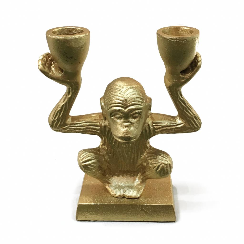 Store Without A Home Gold Metal Monkey Candlestick