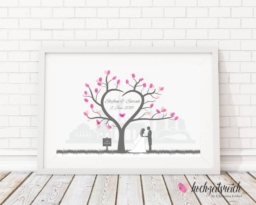 Leinwand Blanko Wedding Tree Fingerabdruckbaum Fingerabdruck Baum Wedding