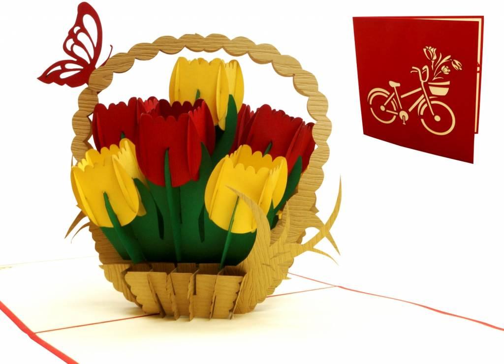 Pop Up 3D Karte, Geburtstagskarte, Klappkarte Muttertag, Tulpenkorb