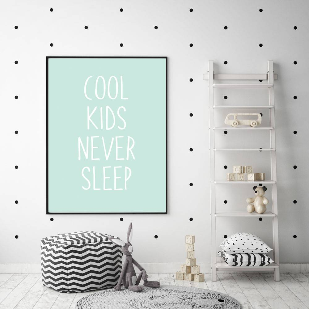 Moderne Kinderkamer Designclaud Cool Kids Never Sleep Kinderkamer Poster Babykamer Poster Decoratie Mint Poster