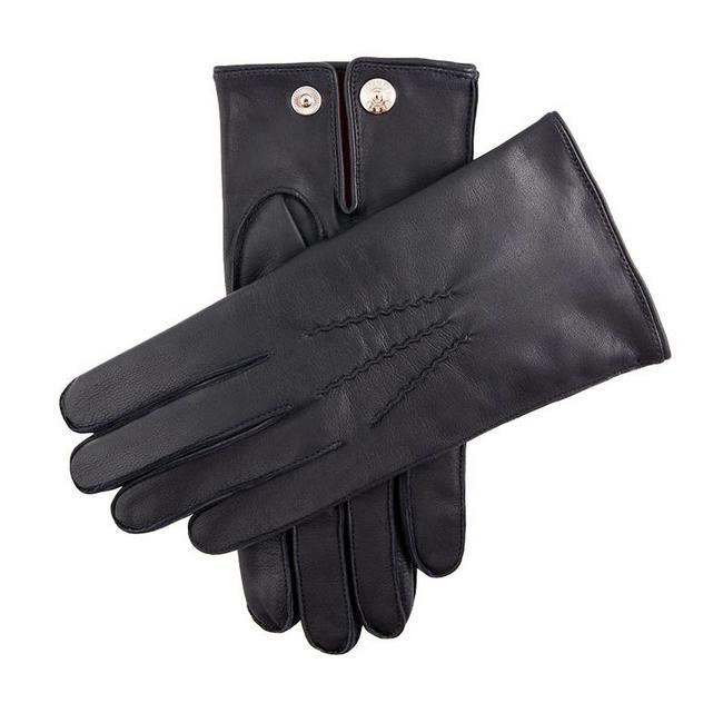 Sheepskin Gloves Dents Cashmere Lined Burford Navy - Quality Shop