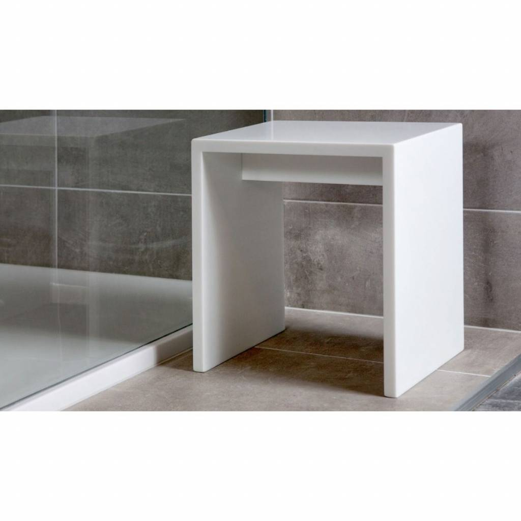 Badkamer Kruk Design Xenz Solid Surface Cubic Bankje Wit 450x450x500 Mm