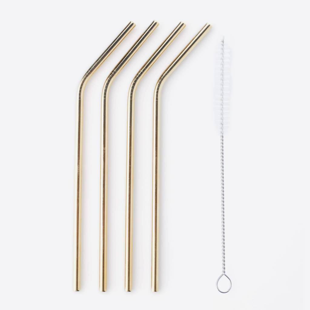 Petrol Badkameraccessoires Point Virgule Set Of 4 Cocktail Straws With Cleaning Brush