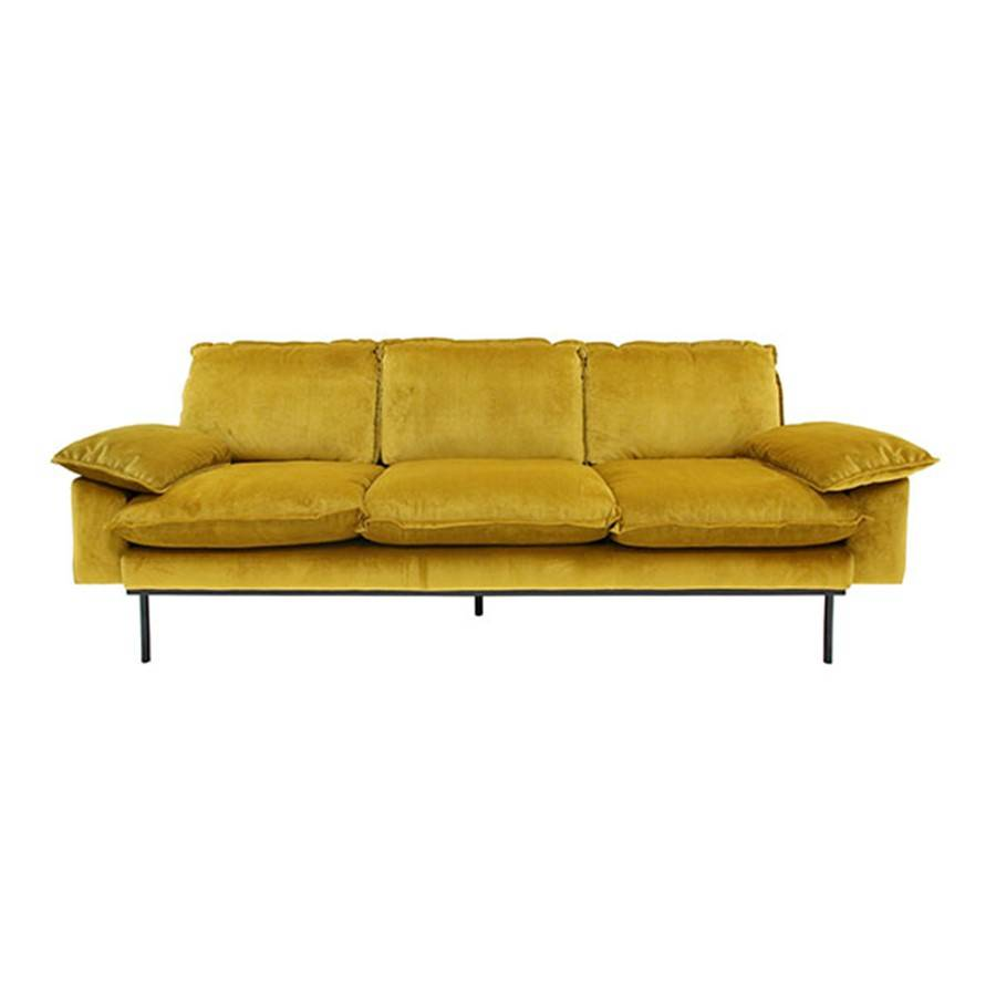 Sofa Terciopelo Hk Living Retro Sofa 3 Seat Ochre Yellow