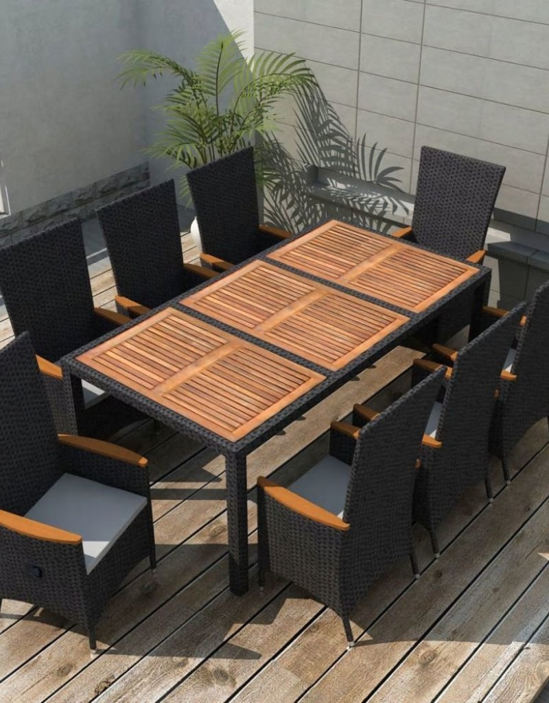 Tuinset Hardhout Vidaxl Tuinset Xxl Zwart Poly Rattan Acaciahout 17 Delig