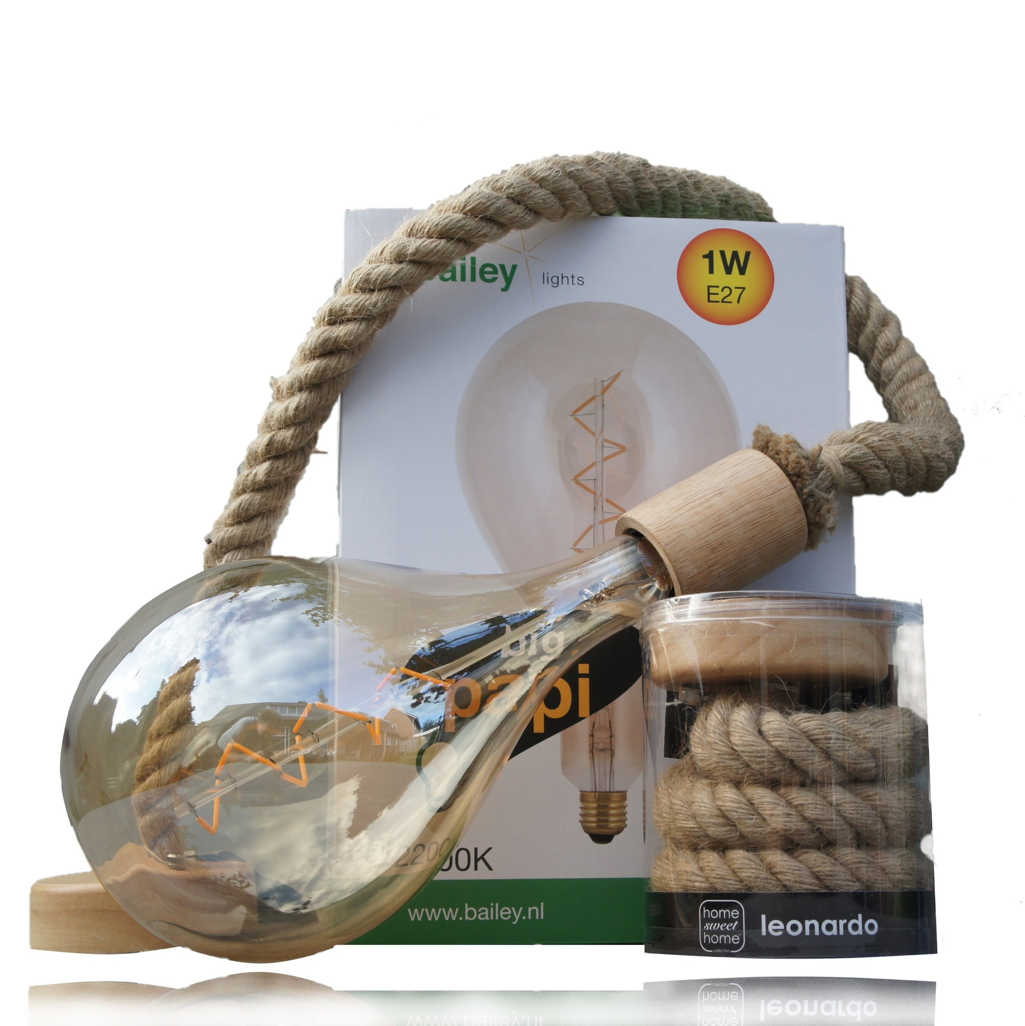 Touwlamp Met Xxl Led Lamp 1 Watt Rimisa Sfeer En Decoratie