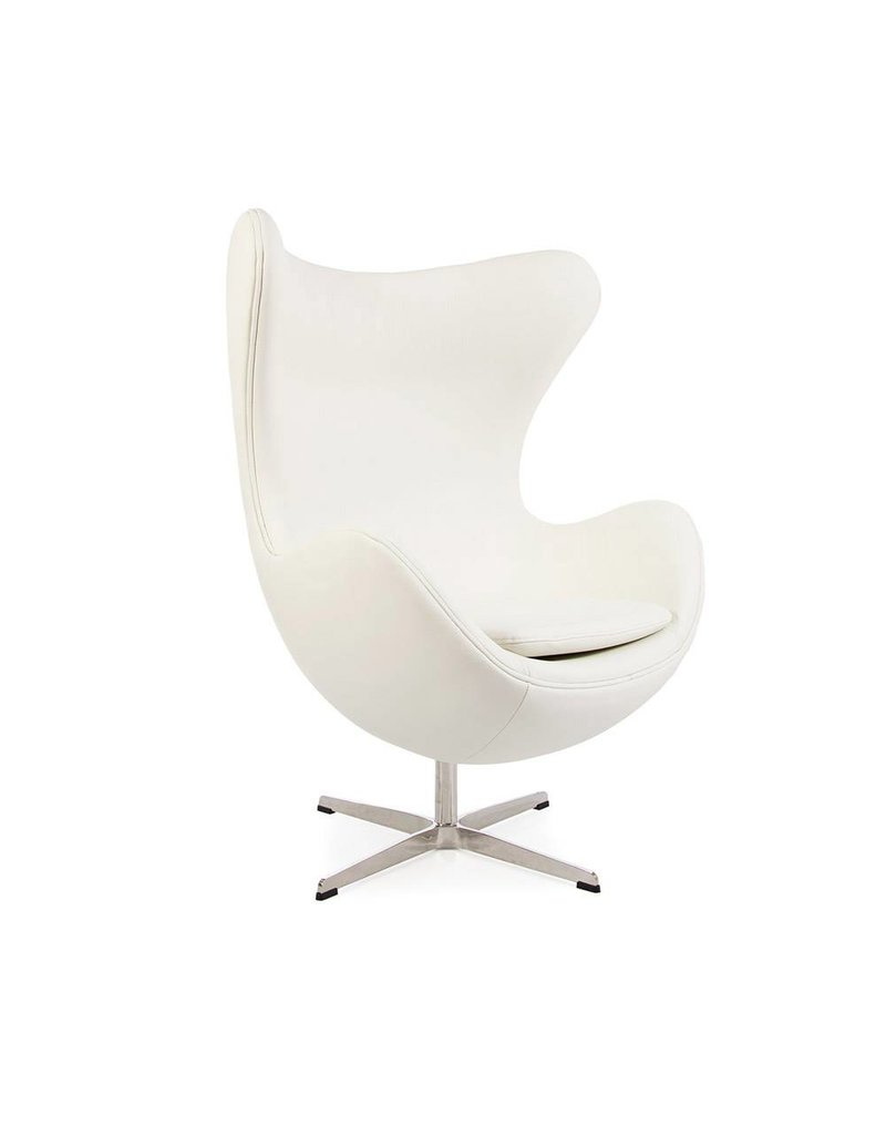 Eetkamerstoelen Wit Leer Egg Chair Wit Leer