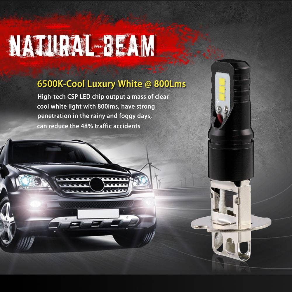Led Verlichting Voor Auto Nighteye Auto Verlichting H3 80 W 800lm Met Csp Led Chips Bulb 6500 K Wit Car Mistlampen Drl Led Verlichting Koplamp Dc 12 24 V Nighteye Auto