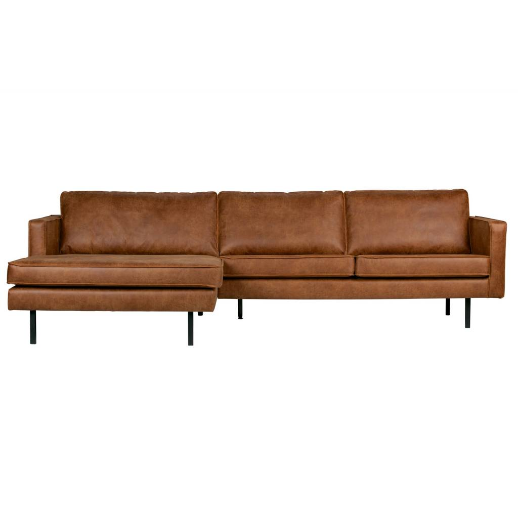 Bankstel Kussens Bank Rodeo Chaise Longue Links Cognac Bruin Leer 85x300x86 155cm