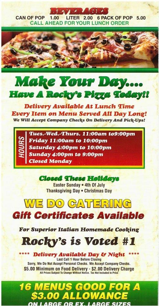 Rocky\u0027s Pizza  Restaurant - menu, Rocky\u0027s Pizza  Restaurant - If