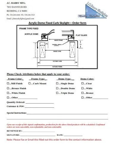 Skylight Order Forms JC Barry Manufacturing Inc