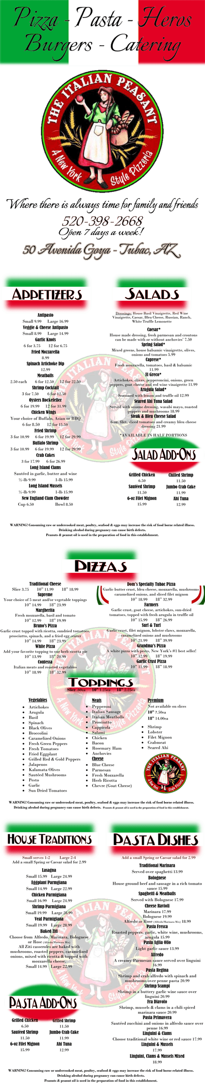 Italian Take Away Menu Menu Tubac Az The Italian Peasant