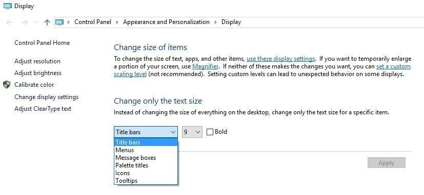 change font size windows 10
