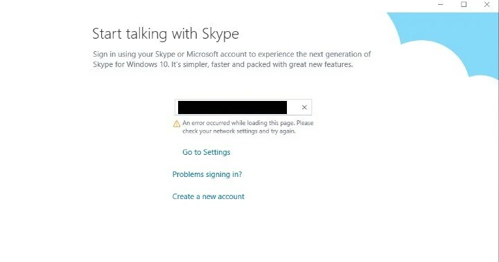 Please check your network settings and try again\u0027 Skype error
