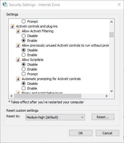 How to stop Windows 10 blocking ActiveX install for Internet Explorer