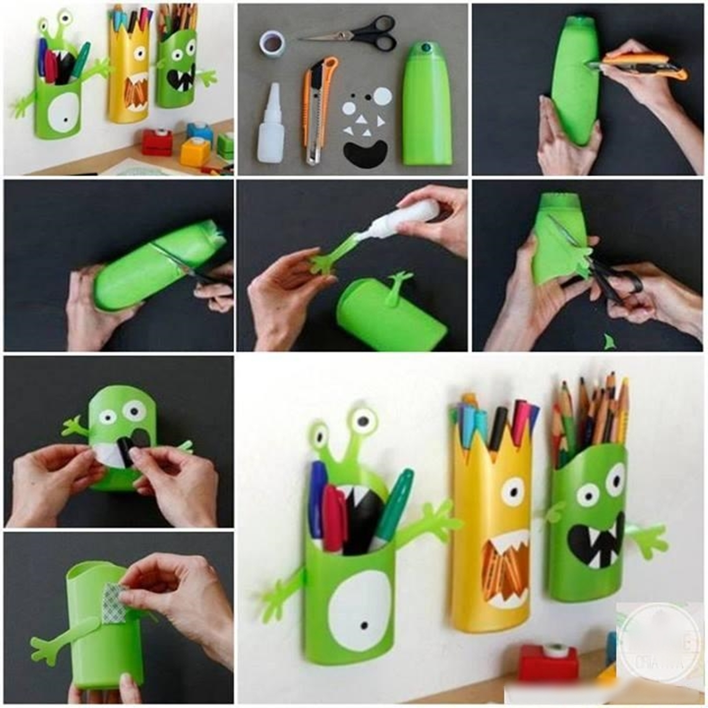 Homemade Pencil Holders Wonderful Diy Monster Pencil Holders From Shampoo Bottles