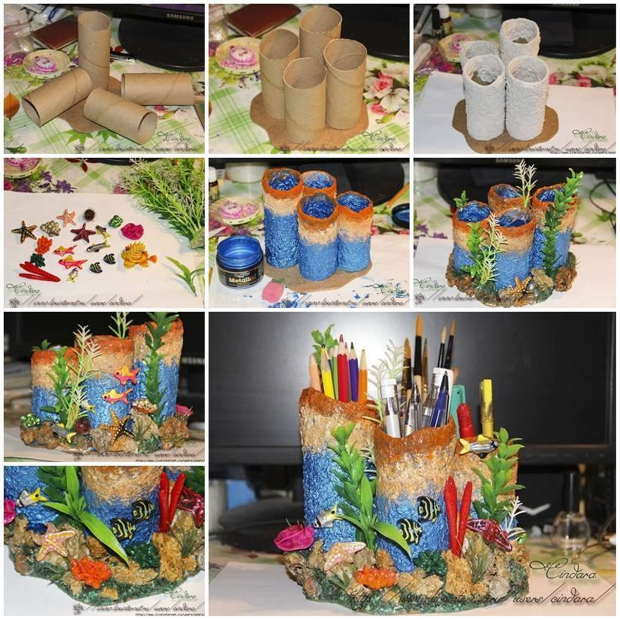 Homemade Pencil Holders Wonderful Diy Paper Rolls Into Coral Reef Pencil Holder