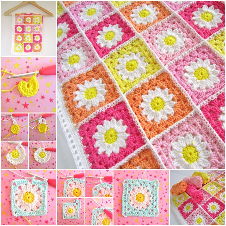 Baby Pram Gift Wonderful Diy Crochet Flower Granny Squares