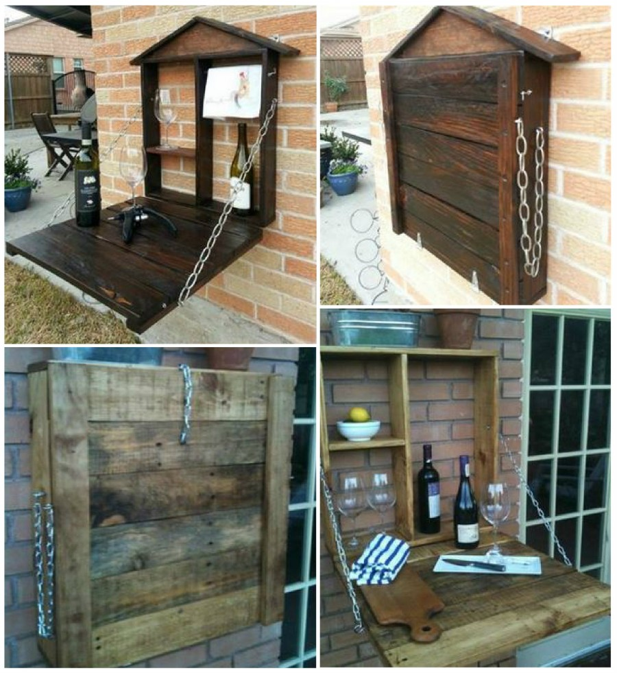 wonderful diy amazing pallet furniture murphy kitchen table VIEW IN GALLERY Pallet Fold Down Wine bar wonderfuldiy