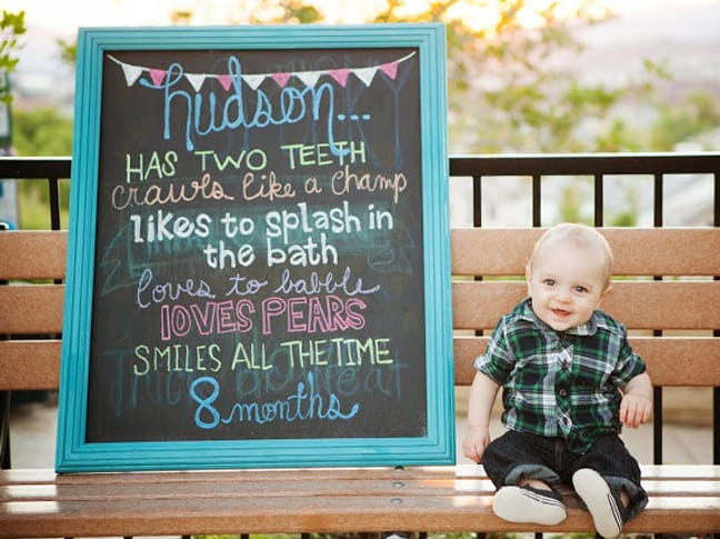 15 Cute Ideas For Monthly Baby Photos - baby milestone timeline