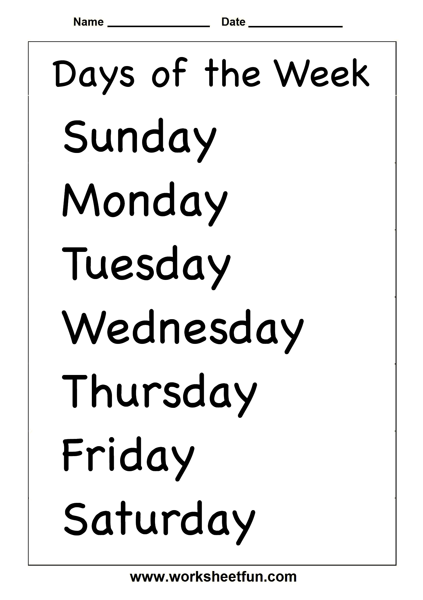 photograph regarding Printable Days of the Week Chart identify √ Times of the 7 days 2 Worksheets / Absolutely free Printable