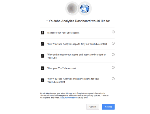 Giving YouTube Analytics permission to access your account data