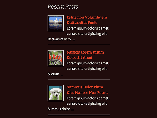 Recent posts with thumbnail and excerpt in  sidebar widget