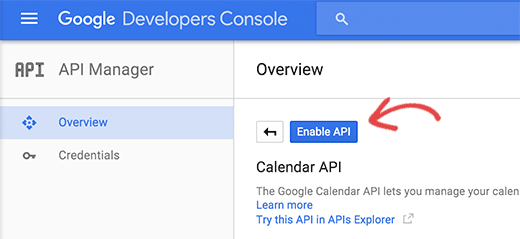 Enable calendar api confirmation