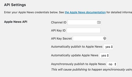 Publish to Apple News settings