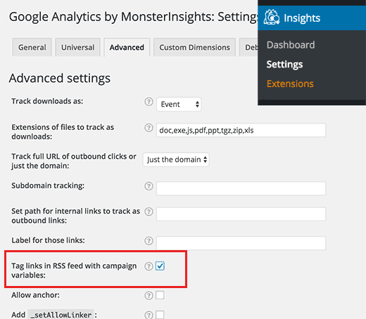Tracking RSS feed links in Google Analytics
