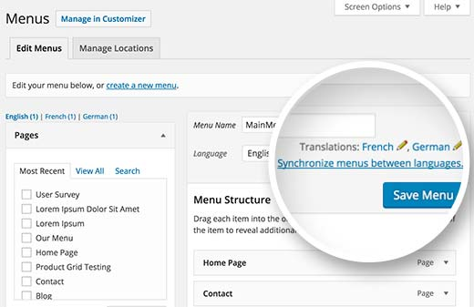 Translate Menus in multilingual WordPress
