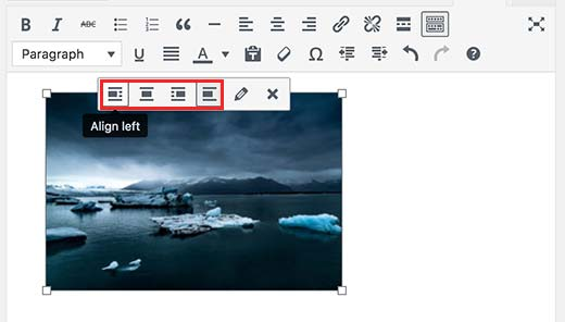 Align image using the buttons in image toolbar