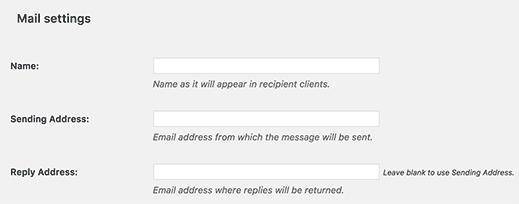 Edit mail settings in the SendGrid plugin settings in WordPress