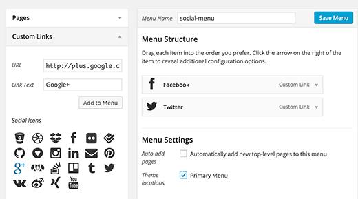 Adding social menus
