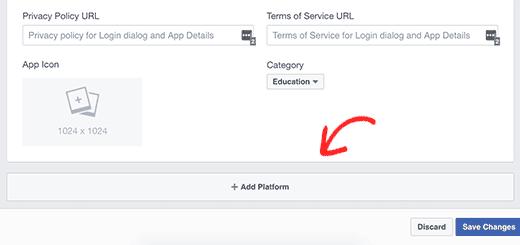 Add platform to your Facebook app