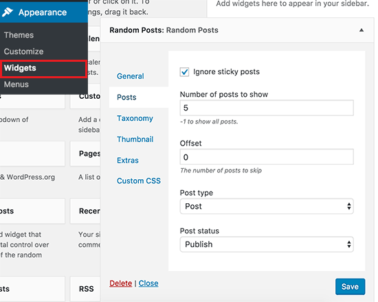 Random posts widget settings