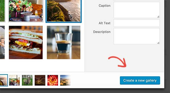 Create new gallery button