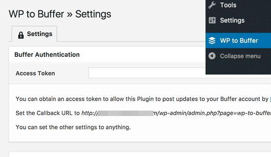 WP to Buffer settings