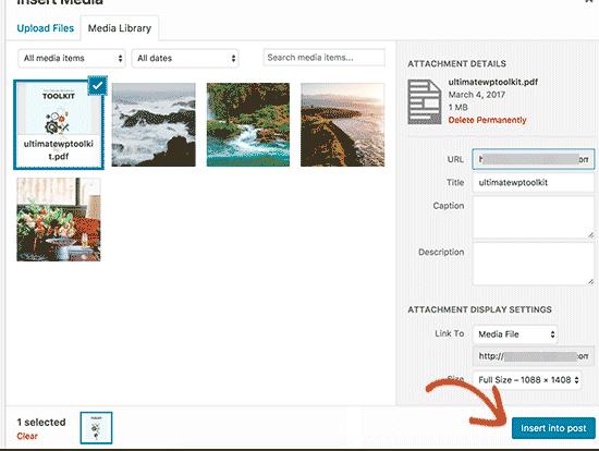 Insert your ebook download into WordPress