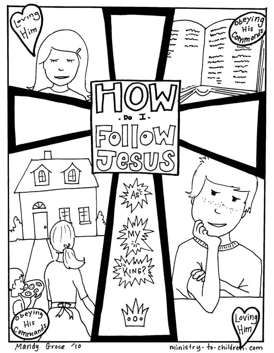 Free coloring pages god is love - Following Jesus Coloring Page Quality 80 Strip All Free Coloring Pages Jesus On Coloring