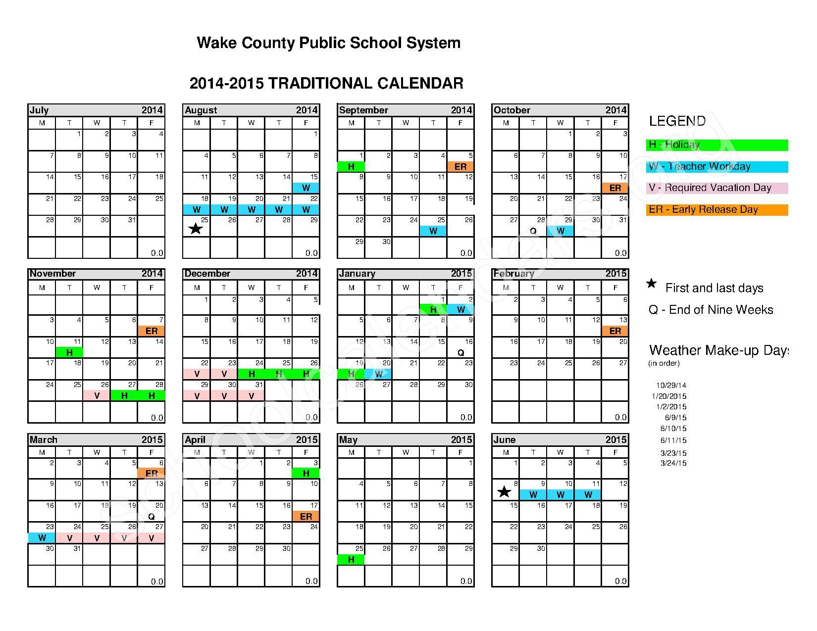 Traditional School Calendar Wake County School Calendars Overview Wake County Public School 2014 2015 Traditional Calendar – Calendar Detail