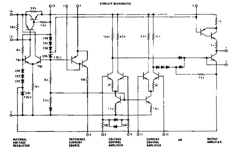 schematic of a simplified switching regulator circuit
