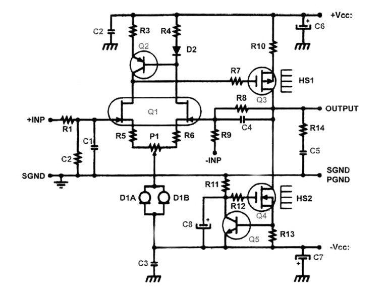pure class a headphone amplifier schematic