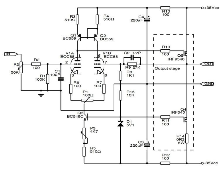 simple tube bass amp schematic
